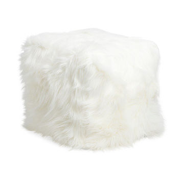 Polar White Faux Fur Square Pouf