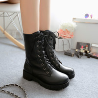 New fashion women's platform boots 2016 lace up round toe women's punk boots autumn combat military boots female safety boots