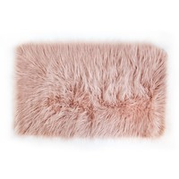 Faux Mongolian Rectangle Scatter Rug - Rose Smoke