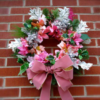 "Cemetery Floral Memorial Remembrance Wreath - ""Cherished Memories"", Wreath, Pink floral stems, Personalized, Cemetery Flowers, Christmas"