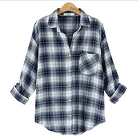Plaid Long-sleeve Button Collared Shirt With Pocket