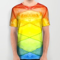 Geometric Pattern Triangles Rainbow Watercolor All Over Print Shirt by Olechka