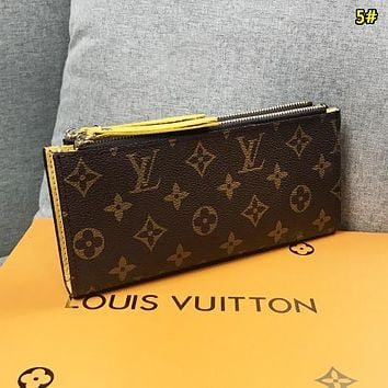 LV Louis Vuitton New fashion monogram print leather double zipper wallet purse women 5#