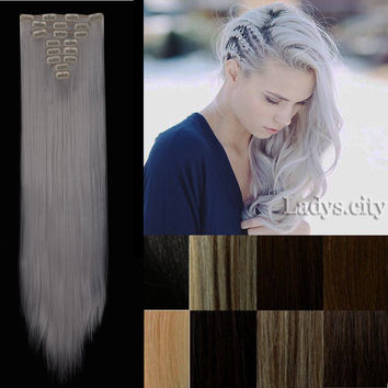 """8pcs Heat Resistant Hair Hairpiece 26"""" 18 Clips in Hair Extension Synthetic Long Straight False Hair Extensions"""
