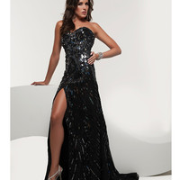 Jasz Couture 2013 Prom - Strapless Black & Gun Metal Sequin Chiffon Gown - Unique Vintage - Cocktail, Pinup, Holiday & Prom Dresses.