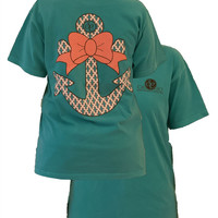 Southern Couture Preppy Anchor Big Bow Comfort Colors Seafoam Girlie Bright T Shirt