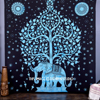 Elephant Tree Tapestry ,Good Luck Blue elephant Tapestry , Hippie Gypsy Wall Hanging , Tree of Life Tapestry , New Age Dorm Indian Tapestry
