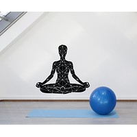 Vinyl Wall Decal Yoga Lotus Pose Meditation Om Zen Relaxation Stickers Mural (g621)