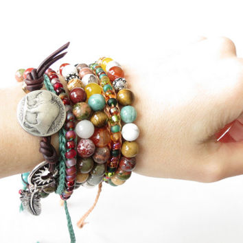Mother's Day stretch bracelet set, 2x colourful bracelets with solid fine silver bead and antique silver focal bead, mix of gemstones