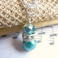 Bridesmaids necklace teal blue pearl wedding teal crystal silver necklace