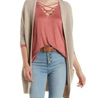 Deep Taupe Slouchy Dolman Cardigan Sweater by Charlotte Russe