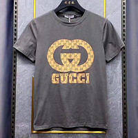 GG Embroidered cloth with short sleeve T-shirt Gray