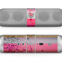 The Pink Water Stripes Skin for the Beats by Dre Pill Bluetooth Speaker