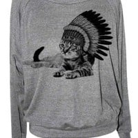 Skip N' Whistle Women's Cat Chillin Raglan Sweatshirt Small Grey