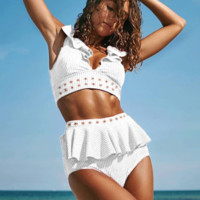 Summer New Fashion Solid Color Lotus Leaf Vest Two Piece Bikini Swimsuit White