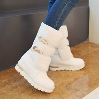 ICIK0OQ On Sale Hot Deal Wedge Stylish Metal Shoes With Heel White Black Plus Size Boots [9432960842]