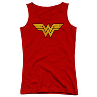 DC/WONDER WOMAN LOGO DIST - JUNIORS TANK TOP - RED -