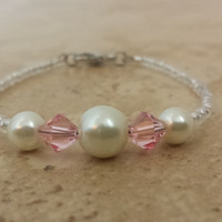 Swarovski Crystal Pearl And Bicone Baby Anklet by MSM Creations