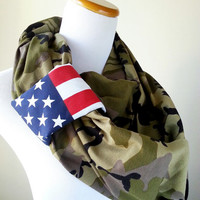 American Camouflage Infinity Scarf, American Flag Army Scarf