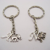 Elephant  Keychain Set Small Elephant Keychains Best Friends Personalized Gifts Couples Set Mother Daughter Keychains Elephant Lovers