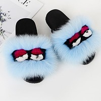 FENDI Hot Sale Women Casual Little Monsters Fur Flats Sandals Slipper Shoes Blue