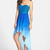 Speechless Sequin Bodice Ombre High/Low Dress (Juniors)