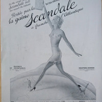 Original Vintage French Ad  Scandale Lingere Eiffel Tower and Statue of Liberty 1937 Very Rare!