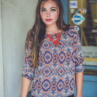 Medallion Floral Top in Rust