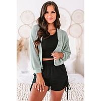 Casual Outings Textured Knit Button-Down Cardigan (Sage)