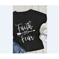 Faith Over Fear Arrow Printed T-Shirt T-Shirt