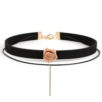 Casual Layers Rose Choker Necklace