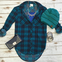 What I like about you Plaid Flannel Top: Teal/Blue