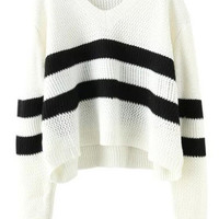 White V Neck Striped Cropped Long Sleeve Sweater