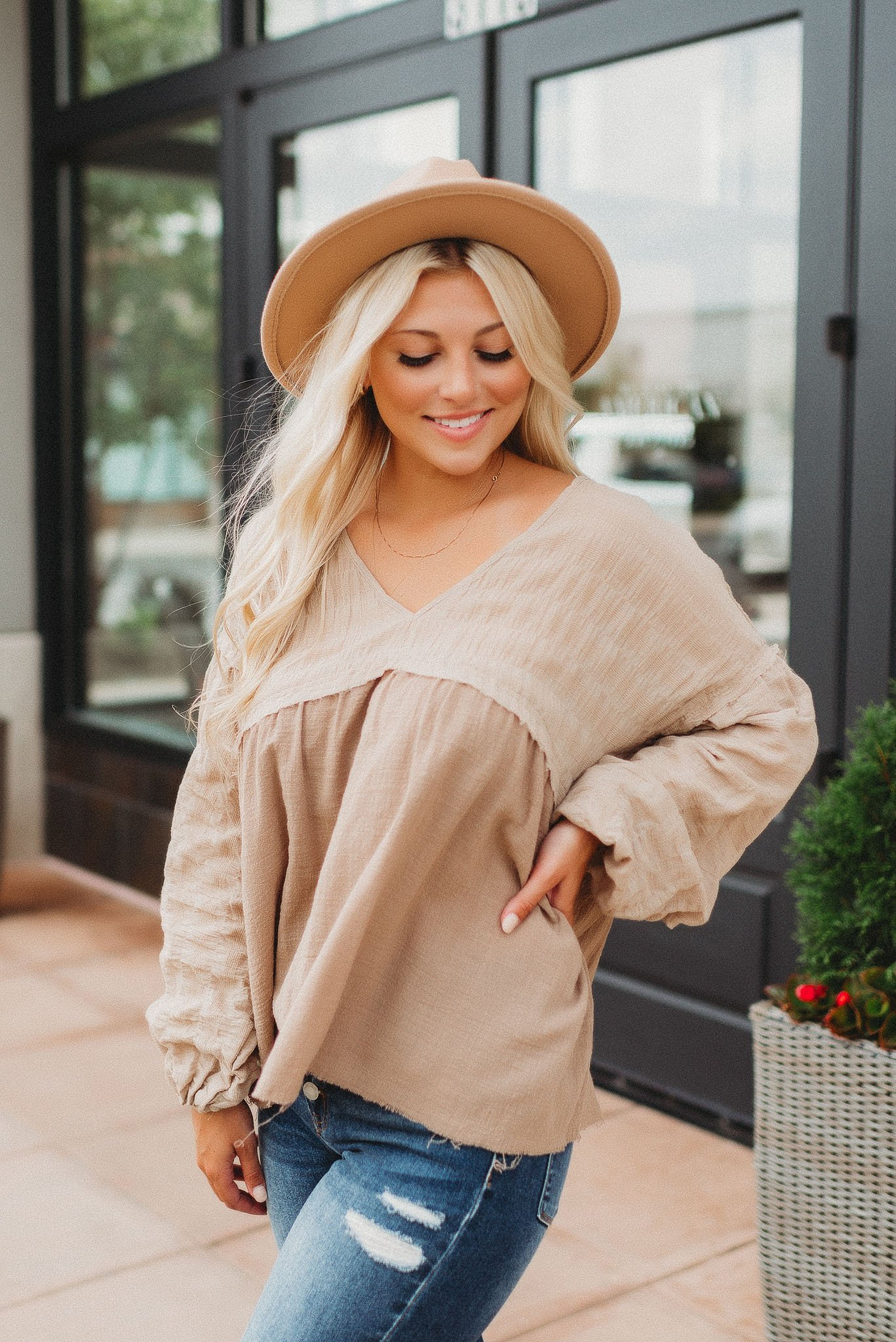 Image of Simply Stated Blouse (Taupe)