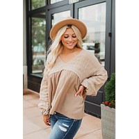 Simply Stated Blouse (Taupe)