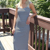 Finders Keepers Black & White Striped Maxi Dress