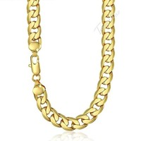 Men's Necklace Hip Hop Gold Cuban Link Chain Necklace For Male Jewelry Gifts 12mm