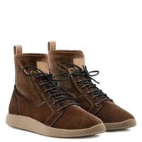 Giuseppe Zanotti Gz Cesar Brown Velvet Stretch High-top Sneakers