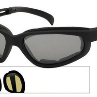 Raider-Clear – Black frame polycarbonate wrap-around sunglasses / goggles - Clear lens - 3017