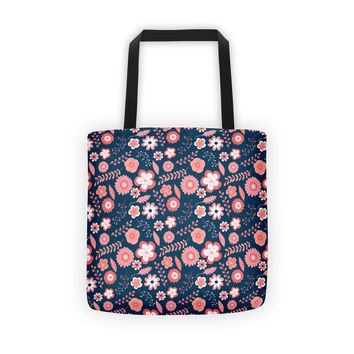 Coral and Navy Floral Tote bag