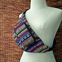 Fanny pack Festival Boho Ethnic Tribal Styles belt belly bum Bags Pouch Travel hip sack phanny waist Ikat Hippies Hmong Woven cycling pink