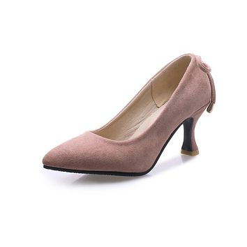 Pointed Toe Shallow Female Women Pumps Stiletto Middle Heels
