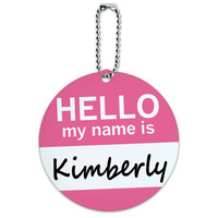 Kimberly Hello My Name Is Round ID Card Luggage Tag