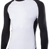 jeansian Men's Sport Elastic Stitching Quick Dry Long Sleeves T-Shirts Tops D614
