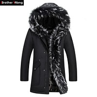 Brother Wang Brand 2017 Winter New Men's Long Down Jacket Hooded Thick Warm Coat White Duck Down Jacket Plus Size 4XL 5XL