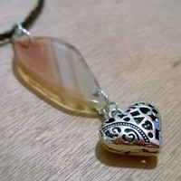 Agate Leather Necklace -Amber from Pelhuaz by Red