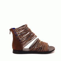 Get noticed in these stylish Strappy Catania Gladiator Sandals by Jeffrey Campbell. Featured leather strappy construction with 11 antique gold detailing, low wedge heel. Finished with cushioned insole and rear zipper closure for easy on/off.