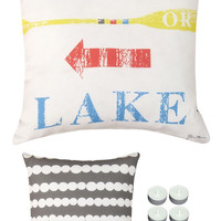 "Manual Woodworkers SLSFWL Summer Fun Work or Lake Climaweave Indoor Outdoor 18""x18"" Pillow with 6-Pack Tea Candles"