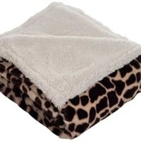 Bedford Home Throw Blanket, Fleece/Sherpa, Giraffe