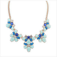Floral Stone Cluster Collar Necklace